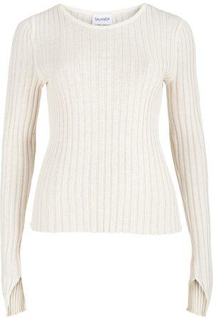 Women's Artisanal White Cotton Ribbed Long Sleeve Top SALANIDA