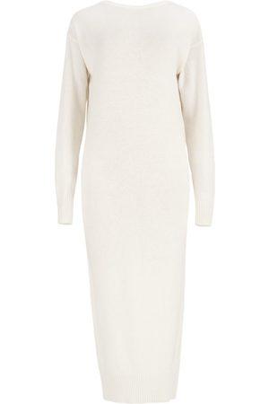 Women's Artisanal White Wool Lungo Sweater Dress M/L SALANIDA
