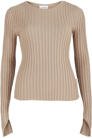 Women's Artisanal Brown Cotton Ribbed Long Sleeve Top Beige SALANIDA