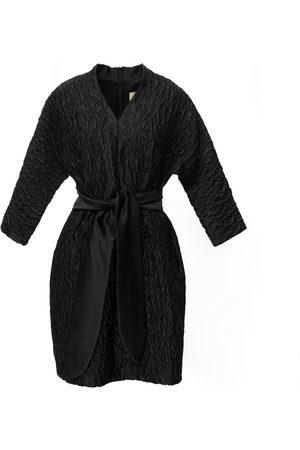 Women Party Dresses - Women's Artisanal Black Fabric Mini Dress Textured Large Julia Allert