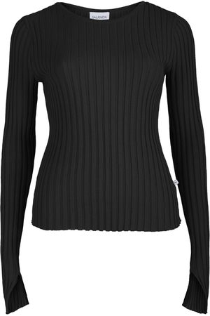 Women's Artisanal Black Cotton Ribbed Long Sleeve Top SALANIDA