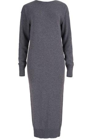 Women's Artisanal Grey Wool Lungo Sweater Dress M/L SALANIDA