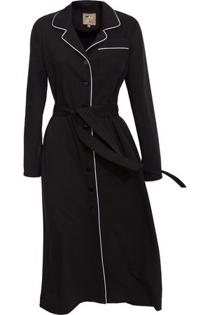 Women Casual Dresses - Women's Artisanal Black Fabric Midi Dress Shirt With Belt Small Julia Allert