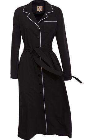 Women's Artisanal Black Fabric Midi Dress Shirt With Belt XL Julia Allert