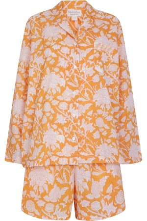Women's Artisanal Cotton Hand Printed Shorts Set - Satsuma Flower L/XL NoLoGo-chic