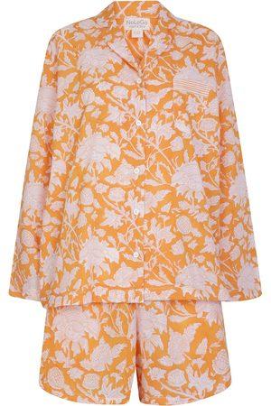 Women's Artisanal Cotton Hand Printed Shorts Set - Satsuma Flower M/L NoLoGo-chic