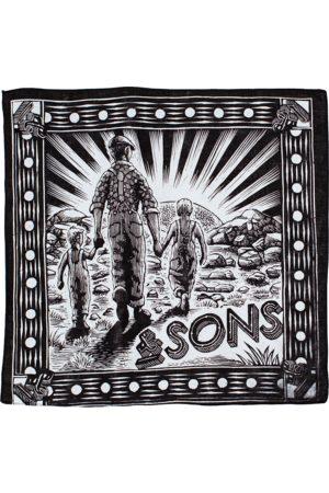 Men's Black Cotton & sons Woodcut Bandana Scarf & SONS Trading Co