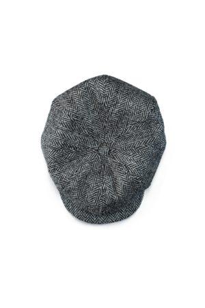 Men's Grey Wool & sons Thompson Baker Boy Hat- Herringbone Medium & SONS Trading Co