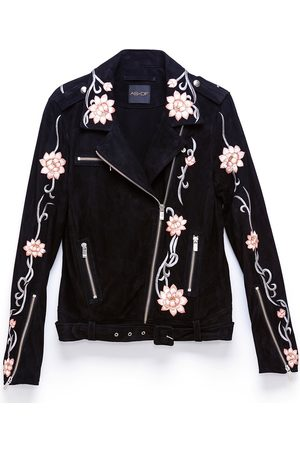 Women Leather Jackets - Women's Recycled Pink/Purple/Black Leather Lotus Flower Jacket XS AS by DF