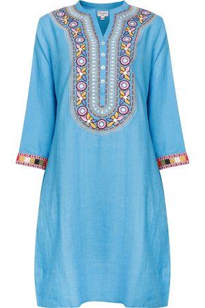 Women Tunic Dresses - Women's Artisanal Blue Linen Tribal Embroidered Tunic Dress - - Wild Large NoLoGo-chic