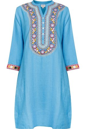 Women Tunic Dresses - Women's Artisanal Blue Linen Tribal Embroidered Tunic Dress - - Wild Medium NoLoGo-chic