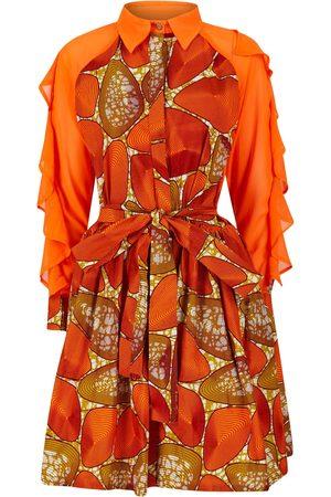 Women's Artisanal Orange Cotton Vicky African Print Ruffle Sleeve Shirt Dress Medium Ohema Ohene