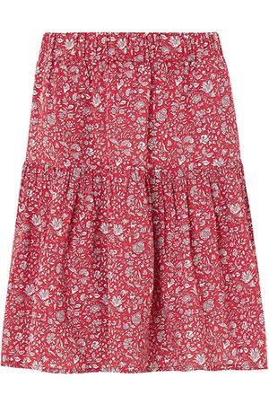 Women Printed Skirts - Women's Organic Red Calista Skirt With Lenzing™ Ecovero™ - Floral Print Small Baukjen