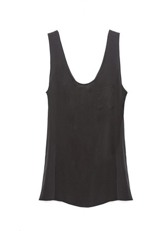 Women's Recycled Black Silk It Girl Slouchy Tank In XS AS by DF