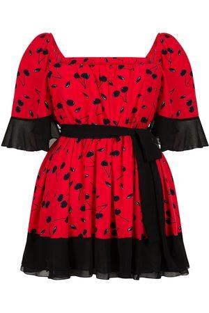 Women Party Dresses - Women's Artisanal Red Flowy Mini Dress Small NOCTURNE