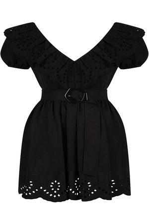 Women's Artisanal Black Linen Eyelet Mini Dress Large NOCTURNE