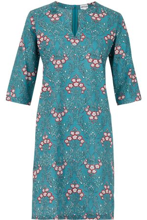Women's Artisanal Teal Cotton The Tunic Dress Small Antra Designs