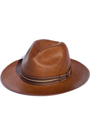 Men Hats - Men's Artisanal Brown Cotton Habana Caramel - Classic Panama Hat Medium Elegancia Tropical Hats