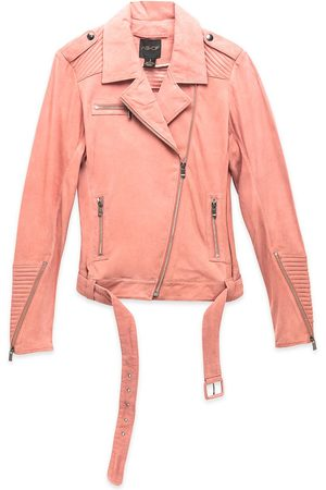 Women Leather Jackets - Women's Recycled Pink/Purple Leather London Moto Jacket XS AS by DF