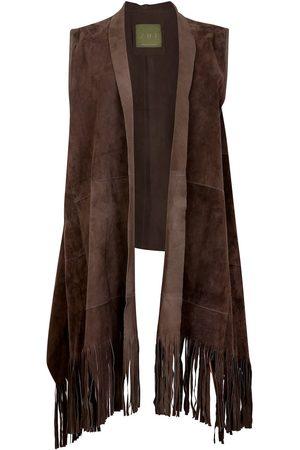 Women Leather Jackets - Women's Artisanal Natural Leather Suede Sleeveless Jacket With Fringe Shawl Front - Khaki ZUT London