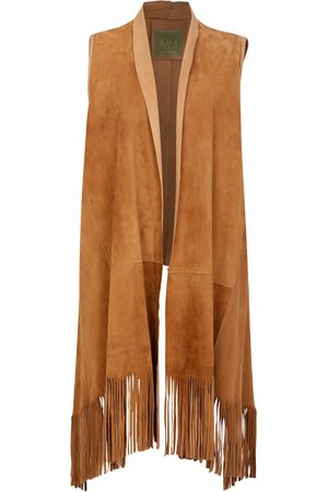 Women's Artisanal Brown Leather Suede Sleeveless Jacket With Fringe Shawl Front - Honey ZUT London
