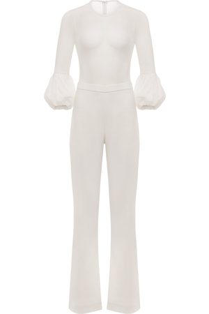 Women Jumpsuits - Women's White Shane Wide Leg Jumpsuit Large Fifth & Welshire