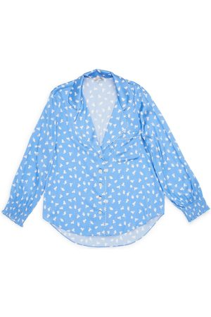 Women Sweats - Women's Blue Silk Anais Top Medium Morgan Lane