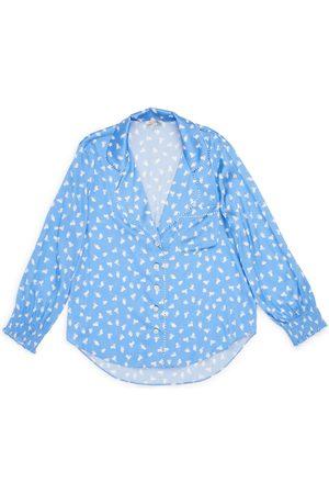 Women's Blue Silk Anais Top Large Morgan Lane