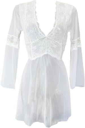 Women Long sleeves - Women's Artisanal White Milano Long Sleeve Tulle & Lace Short Nightie Large Carol Coelho