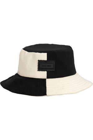 Men's Artisanal Black Cotton 4You Reversible Upcycled Bucket Hat - - & Beige Large ODD END Studio