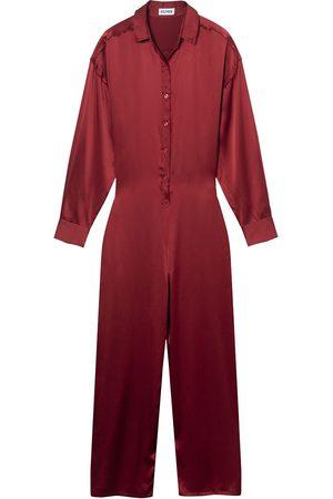 Women's Artisanal Red Silk Shirt Jumpsuit Alter Designs