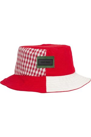 Men Hats - Men's Artisanal White Cotton 4You Reversible Upcycled Bucket Hat - - Red Large ODD END Studio