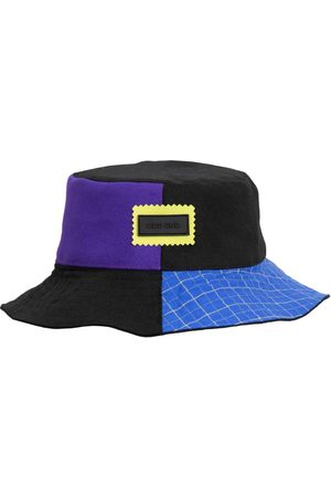 Men Hats - Men's Artisanal Black Cotton 4You Reversible Upcycled Bucket Hat - - & Blue & Purple Large ODD END Studio