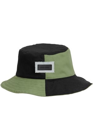 Men Hats - Men's Artisanal Black Cotton 4You Reversible Upcycled Bucket Hat - - & Green Small ODD END Studio