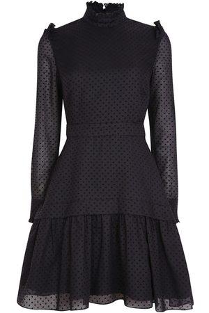 Women's Artisanal Black Silk Maria Airy Cotton Dress With Lining Medium Leblon London