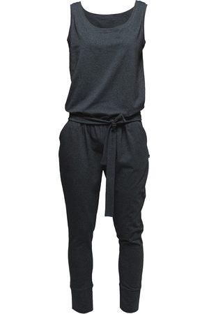 Women Jumpsuits - Women's Artisanal Grey Cotton Non175 Dark Sleeveless Jumpsuit XS NON+