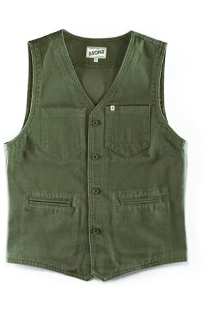 Men's Green Brass & sons Lincoln Waistcoat Army Small & SONS Trading Co