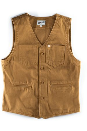 Men's Natural Brass & sons Lincoln Waistcoat Dark Tan Large & SONS Trading Co