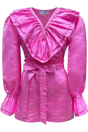 Women Pants - Women's Artisanal Pink Fabric Time Travelers Set Large MADELEINE SIMON STUDIO