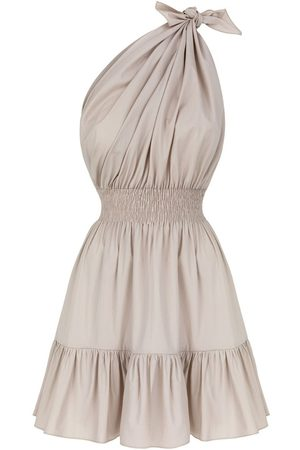 Women Strapless Dresses - Women's Artisanal Natural Cotton Demi Mini Beige Off-Shoulder Dress XL Monica Nera
