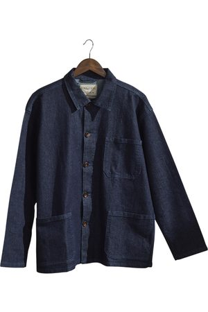 Men's Organic Blue The 3001 Buttoned Overshirt - Rinsed Denim With Stretch Medium Uskees