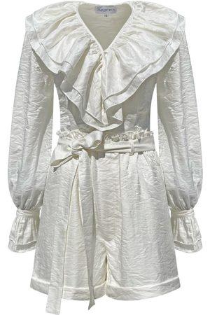 Women Jumpsuits - Women's Artisanal White Leather Time Travelers Set - Cloud Large MADELEINE SIMON STUDIO