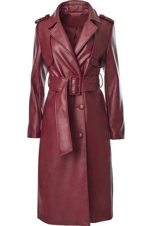 Women Trench Coats - Women's Red Leather Faux Maroon Trench XXL Hilary MacMillan