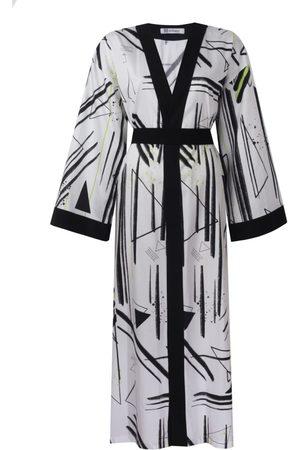 Women Kimonos - Women's Artisanal White Cotton Elements Kimono Mirimalist