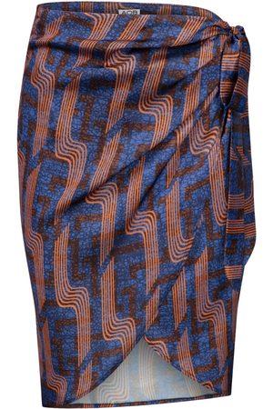 Women Printed Skirts - Women's Silk Linear Print Wrap Skirt L/XL AOB - Ankara on Brand