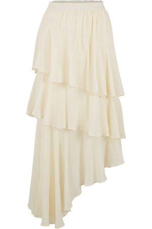 Women Asymmetrical Skirts - Women's Natural Fibres White Cotton Isabella Skirt S/M Amazula