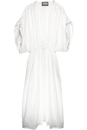 Women Kimonos - Women's Artisanal White Cotton Tulum Beach Kimono THECADESS