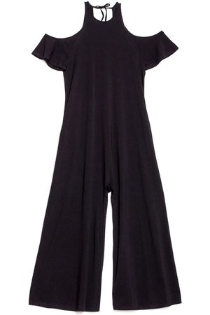 Women Jumpsuits - Women's Artisanal Black Cotton Open Shoulder Jumpsuit XS gaffer & fluf