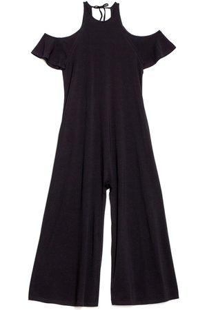 Women's Artisanal Black Cotton Open Shoulder Jumpsuit Small gaffer & fluf