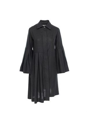 Women Casual Dresses - Women's Artisanal Black Linen Valencia Midi Shirt Dress In XS ROSERRY